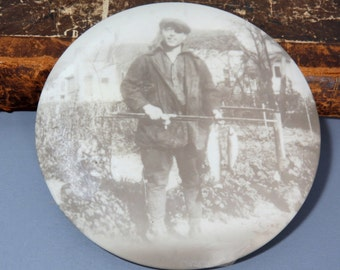 Round Celluloid Fisherman Photo Wall Hanging Flue Cover - Vintage Fisherman with CATCH of the DAY