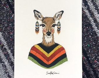 Watercolor Doe Portrait fine art print