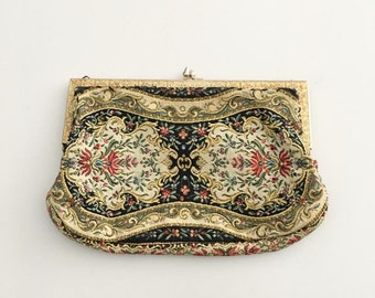 SALE Vintage 50s Floral Clutch with Gold Details / Retro Tapestry Handbag