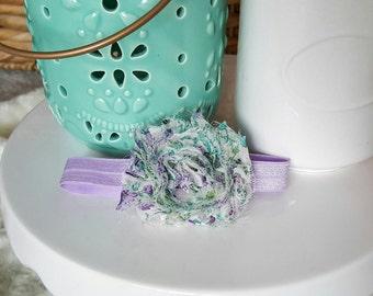 Lavender Floral Shabby Chic Headband, baby headband, infant headband, baby girl headband, flower headband, flower bow, baby bow