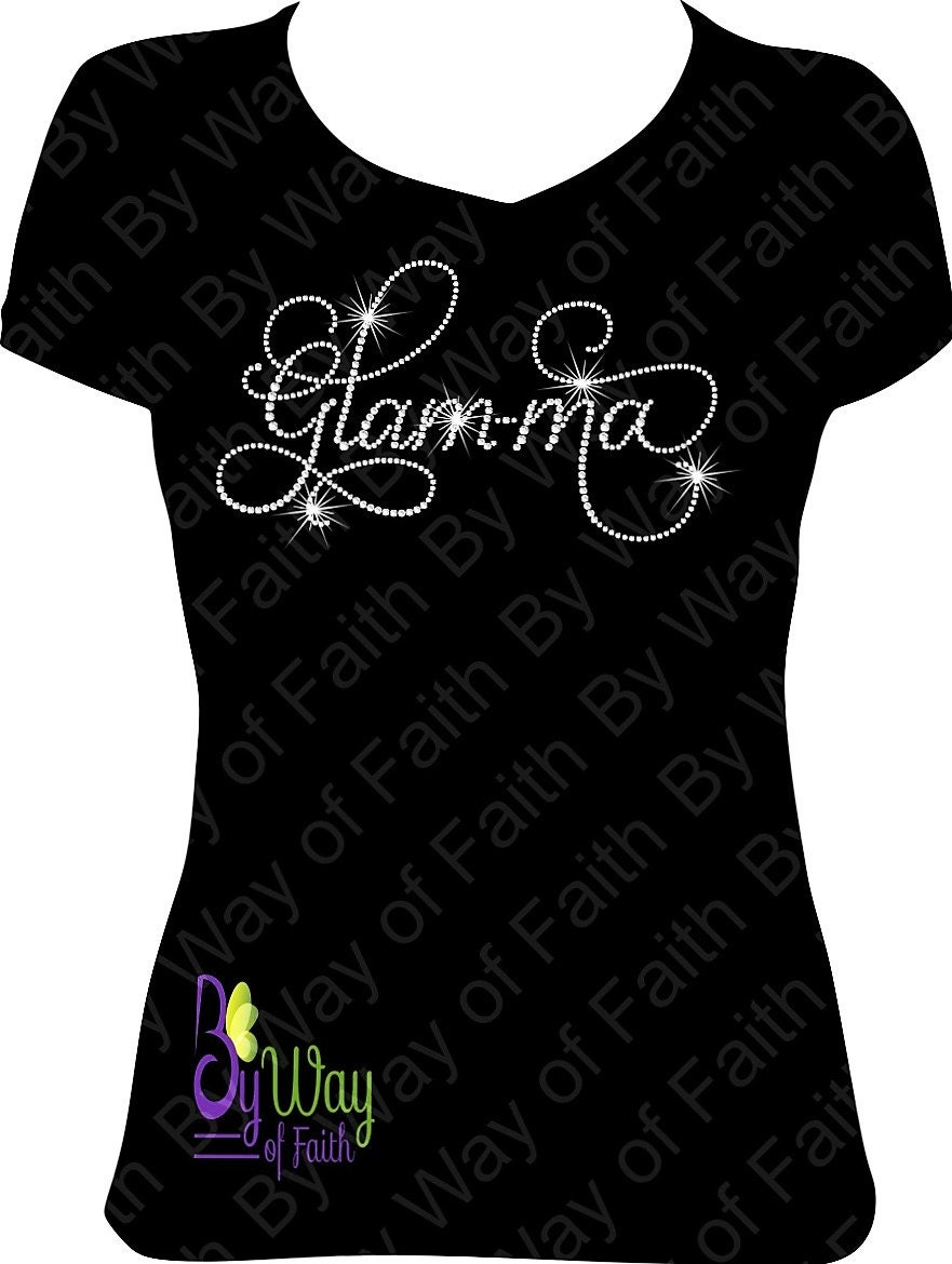 Glamma Bling Rhinestone T Shirt Women Gifts Ladies Tee