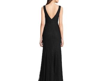 Floor length lace dress, maxi dress, Bridal dress,wedding dress, Black,White,Ivory, High Fashion,Custom Order,fully lined Plus sizes