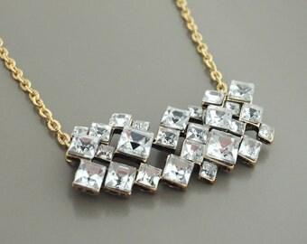 Crystal Necklace - Gold Necklace - Boho Necklace - Pendant Necklace - Statement Necklace - OOAK - handmade jewelry