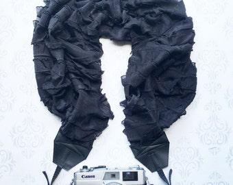 Extra Long Ruffled Scarf Camera Strap, DSLR Camera Strap, Extra Long, Nikon, Canon, DSLR Photography,  Photographer - Ruffled Black