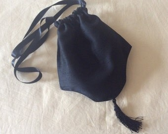 Regency Reticule,Bag. Victorian. Jane Austen. Black Faux Silk.