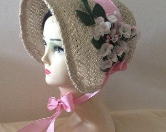 Regency/Victorian Straw Bonnet. Jane Austen. Handmade, Pink/White Trim.