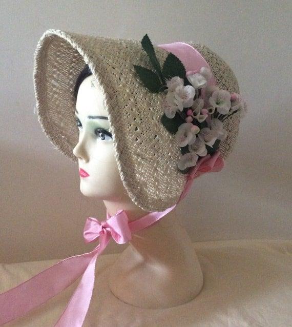 Regency/Victorian Straw Bonnet. Jane Austen. Handmade