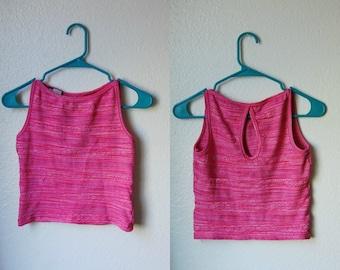 S Vintage 90s Stretchy Pink Crop Top