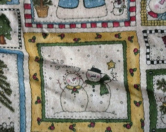 Christmas Block Print Novelty Fabric X0495 Snowmen, Christmas Tree, Peace
