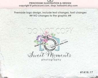 1416-17 camera logo, photography logo, camera and floral, photographer, wedding photography, family, logo business branding watermark ,