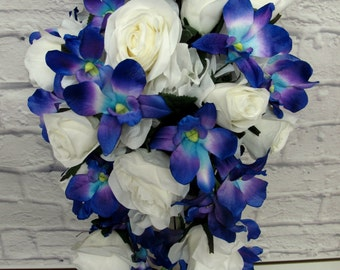 Bridal bouquet, Cascade wedding bouquet - Blue orchid White rose cascading teardrop bouquet, Brides bouquet - Silk wedding flowers