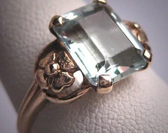 Antique Aquamarine Ring Vintage Art Deco Wedding Gold Floral 1930s