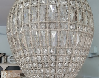 Large French Beaded Teardrop Chandelier