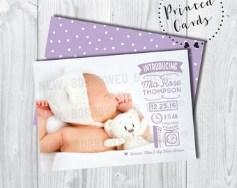 Double-Sided Modern Icon Birth Announcement- SET OF 25