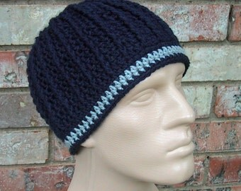 Navy Blue & Gray Beanie - Mens Size Large - Dallas Cowboys Colors - Hand Crocheted - Soft Acrylic Yarn - Warm Winter - Nice Gift