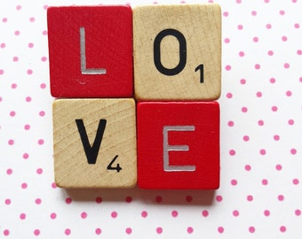 Scrabble brooch LOVE red and wood fun gift original jewellery - free shipping