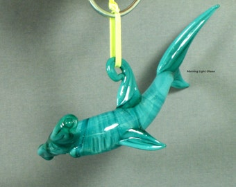 Shark Ornament Lampwork Art Glass Aqua Hammer Head Hanging Sealife