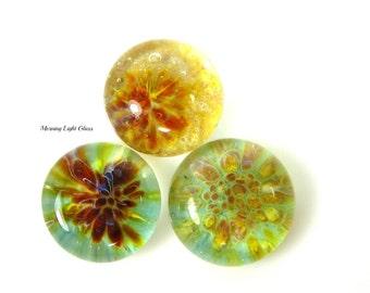 3 Hawaiian Blend Glass Cabochon Trio Set - Boro Lampwork Beads