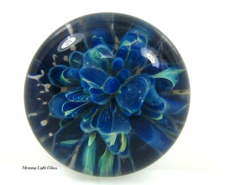 17mm Blue Bouquet, Glass Cabochon,  Boro Lampwork Focal Bead Frit Implosion