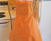Vintage Style Womens Full Apron in Orange Polka Dots