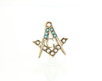 Masonic Pin - 10K Gold, Pearl and Turquoise Antique (1895)