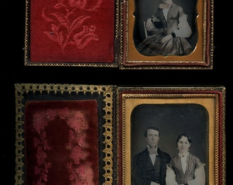 Set of Two Sealed Daguerreotypes (1/6 and 1/4) of Woman & Husband