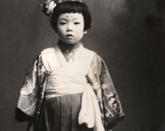 Antique Photo - Beautiful Japanese Girl in Kimono - Katsuyama Photo Studio