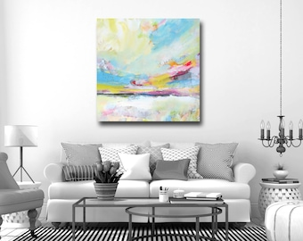Landscape Canvas Giclee Print, Wall Art, Abstract Landscape Canvas, Large Canvas Print, Digital Print, Red Blue Yellow Pink Green Landscape