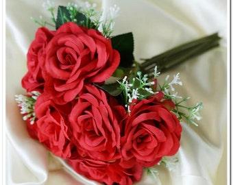 4 Fabric Flower Bouquet, Flowers, Wedding Bouquet, Bridesmaid Bouquets, Flower Girl Bouquets,Keepsake Bouquets, Wholesale Bouquets