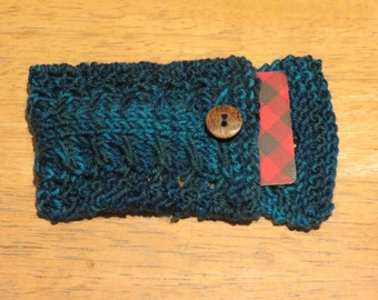Merino Hand Knit Cabled Gift Card Pouch- 'Deep Sea'