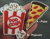 Pizza Patches or Popcorn Patches - Iron on Patch or Sewing on Patch Pizza Patch Popcorn Food Dessert Snack Patch Embellishments