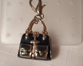 Vintage / PURSE CHARM / Bracelet / Necklace / Pendant / Charm Bracelet / Blue Enamel / Gold / Handbag / Trendy / Bling / Hipster / Accessory
