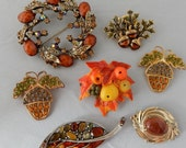 7 Autumn Tone Brooch Lot