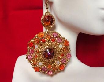Fire Opal and Pink Beaded Motif Earrings