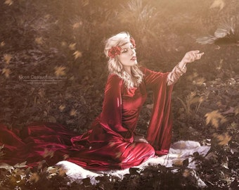Medieval red dress pre-raphaelite Queen dress in red velvet costume cosplay larp handfasting