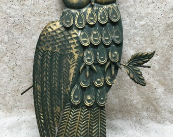 Large Metal Owl Wall Hanging Plaque Vintage Retro Boho 23 x 13