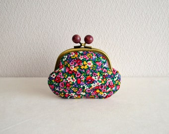 Liberty busy floral coin purse - multi. Handmade in Japan. Ready to ship. Frame purse with wooden balls.