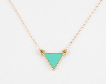 Teal Triangle Necklace // 14kt Gold  // Geometric Jewelry // Simple Everyday Jewelry // Green Blue Triangle