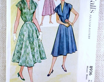 Vintage Pattern McCall's 8936 1950s  shirtwaist dress Bust 34 V neck gored skirt pleated neckline