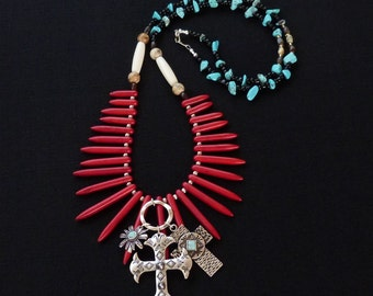 Christian Necklace, Crosses, Faux Stone Fan, Hairpipe and Turquoise.