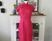 XS, S red cheongsam, floral jacquard, 60s