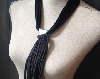 Black and Charcoal Fabric Necklace with Silver Plated Triangle Pendant