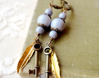 Vintage inspired grey and bronze bead earrings with golden feather and tiny key charm, Beatrice and Lillian