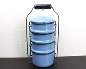 Vintage Enamelware Blue Tiffin, Miner's Lunch Box, Stacking Picnic Snack Tiffin, Cooking Camping, Robin's Egg Blue Enamelware 1950s 490005