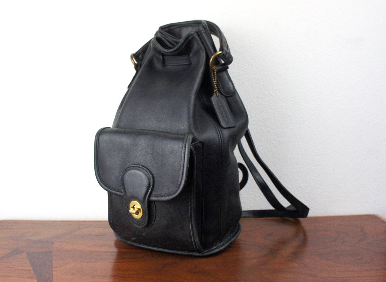 Vintage Coach Drawstring Duffle Sling Backpack Black Leather