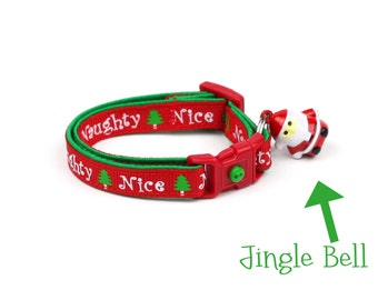 Christmas Cat Collar - Naughty or Nice - Small Cat / Kitten Size or Large(standard) Size Collar