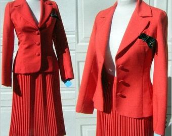 Lilli Ann Suit ORANGE 3 pc Vintage 70s Pleated Skirt Jacket & Blouse - Excellent Condition - Small