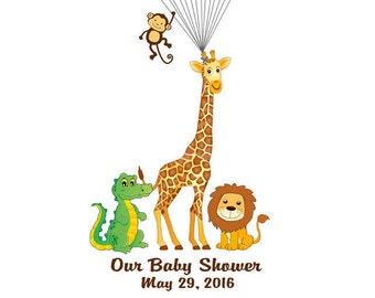 Safari Baby Shower Guest Book, Finger Print Guestbook, Jungle Thumbprint Guest Book, Custom color, size, text - DIGITAL PRINTABLE JPEG