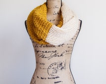 Gold & Cream textured infinity scarf | Extra long | Ready to ship