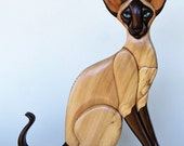 Sealpoint Siamese Cat Intarsia Wall Hanging Wall Decor Wood Kitten Wooden Pet Wood Intarsia Cat Carving Kitty Decoration Hand Carved Cat